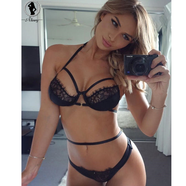New Sexy Women's Underwear Bra Set Black White 2 colors Hollow-out 3/4 Cup Lace Bra Transparent Panties Low-waist