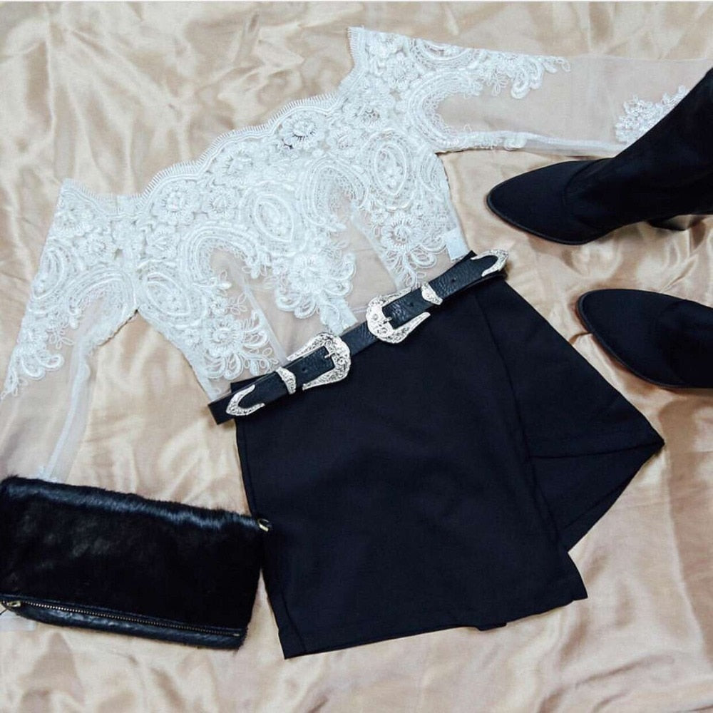 Elegant White Off Shoulder Crop Tops Sexy Embroidery Sheer Mesh Long Sleeve Whit Blouse Black Club Party Lace Tops