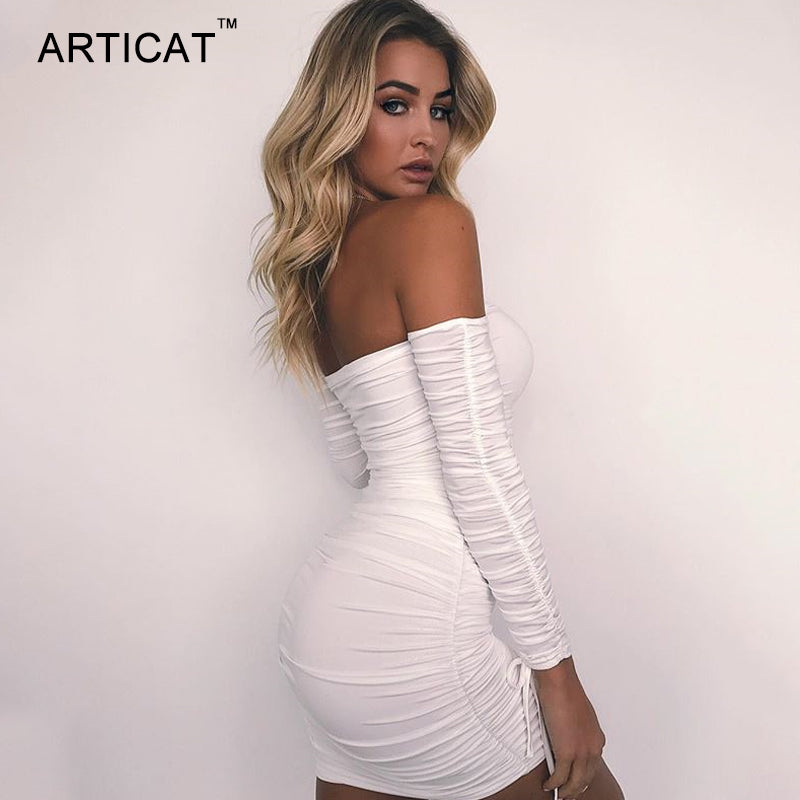 Women Autumn Winter Bandage Dress Women 2018 Sexy Off Shoulder Long Sleeve Slim Elastic Bodycon Party Dresses Vestidos
