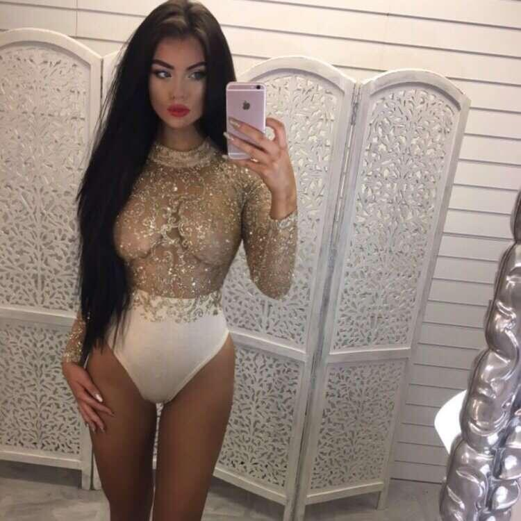 Lace Bodysuit Women Summer Skinny O Neck Long Sleeve Bodycon Jumpsuits Romper