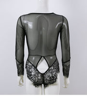 Transparent Sexy Lace Patchwork Bodysuits Women Rompers Bodycon Jumpsuit Long Sleeve