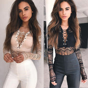 Women Bodysuit Lace Jumpsuit Long Sleeve Bandage Leotard Top