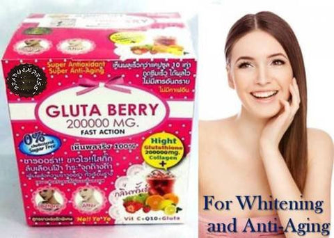 GLUTA BERRY 200000 mg Glutathione Whitening Slimming collagen Punch flavor drink Free Shipping