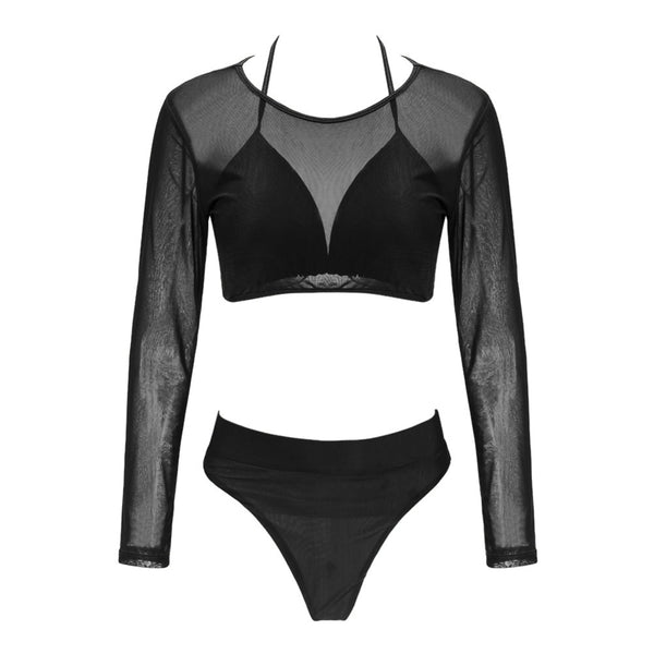 Two Piece Swimsuit Summer Sexy Women Mesh Long Sleeve High Waist Bikini Set Push Up Swimwear Bra+Bottom+Cover Up Swimsuit
