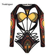 African Print Sexy Swimwear Women High Waisted Bathing Suit Retro BrazilianThong Bikini Set Short Sleeve Bandage Swimsuit