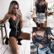 Fashion Patchwork Camis Women Sexy Spaghetti Strap Lace Stain Vest Tops Black Shirts Camisole New Inner Shirt