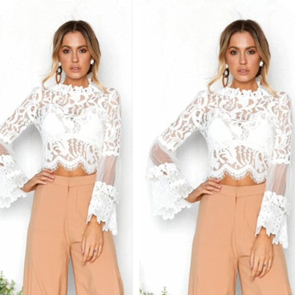 Women Summer Sexy Lace Crop Tops Long Sleeve Shirt Casual Slim Lace Blouse