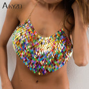 Sexy Halter Chain Scales Sequins Crop Top 2018 Summer Beach Backless Nightclub Party Camis High Quality Handmade Tops