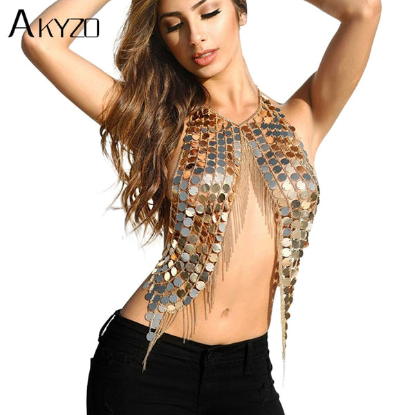 Festival Club Party Tank Women Sexy Handmade Acrylic Sequins Body Metal Chain Halter Camis Top Silver Gold