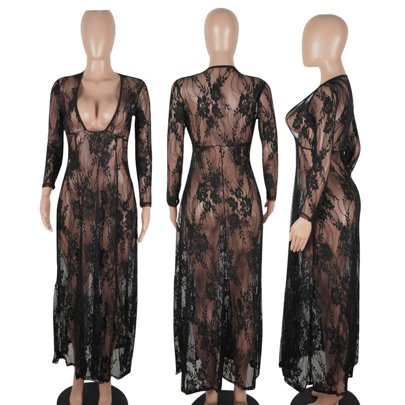 Black Sheer Floral Lace Maxi Dress High Waist Women Sexy See Through V-Neck Party Dress Ladies Summer Beach Long Dresses
