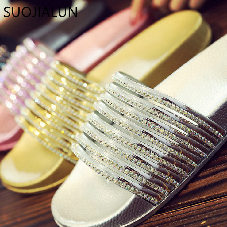 Summer Women Slippers Crystal Open Toe Beach Slides Slip On Flip Flops Women Casual Flat Shoes Platform Female