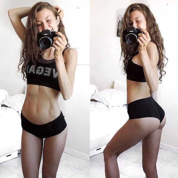 InstaHot Sexy Fake Two Pieces Mesh Camis Tank Tops Women VEGAN Printed Spaghetti Strap Backless Bustier Workout Top Vest Ladies