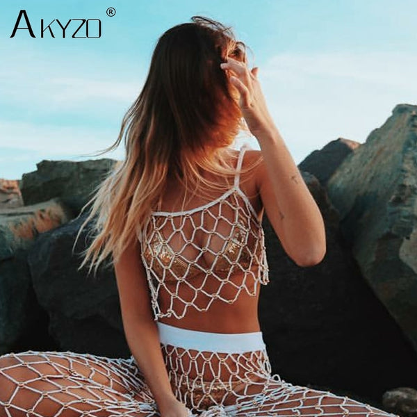 Women Sexy Fishnet Hollow Tank Tops Summer Beach Sparkly Handmade Beads Sequins Spaghetti Strap Nightclub Party Camis Top