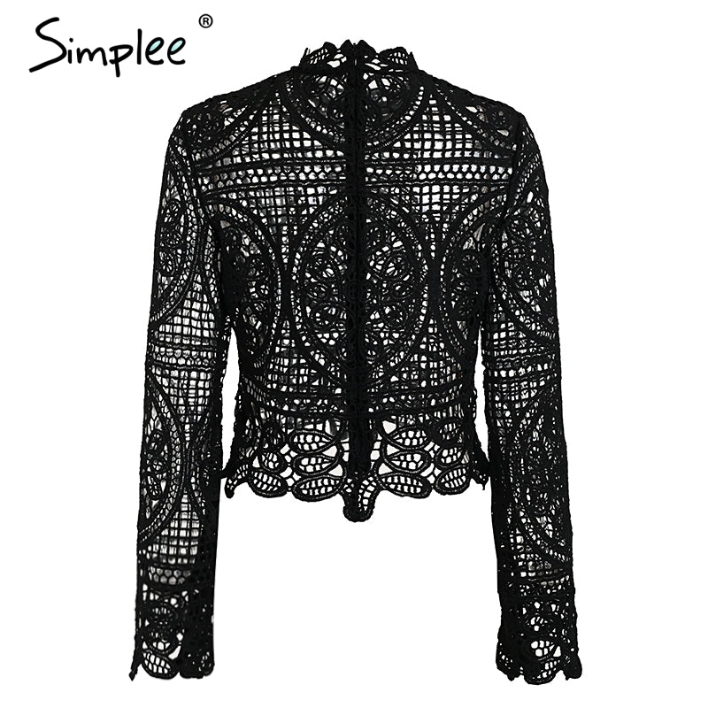Elegant lace crop top blouse shirt Women Flare sleeve