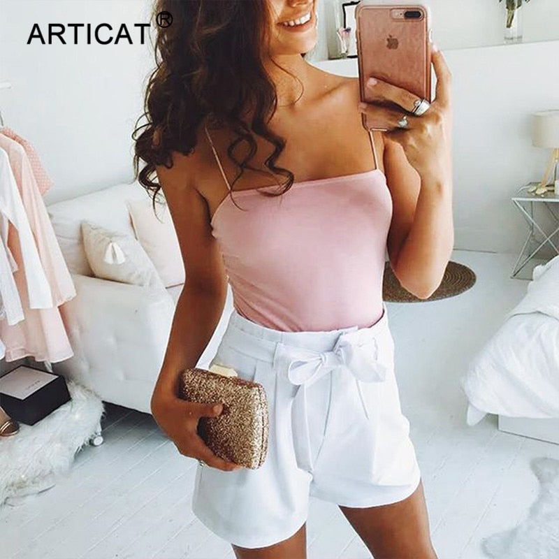 Articat Spaghetti Strap Sexy Bodysuit Women Backless Bodycon Summer Rompers Womens Jumpsuit Women Body Suit Casual Bodysuits