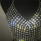 Women Exaggerate Rhinestone Design Tank Tops Summer Gold Silver Hollow Out Cropped Glitter Beach Club Show Wear Tops