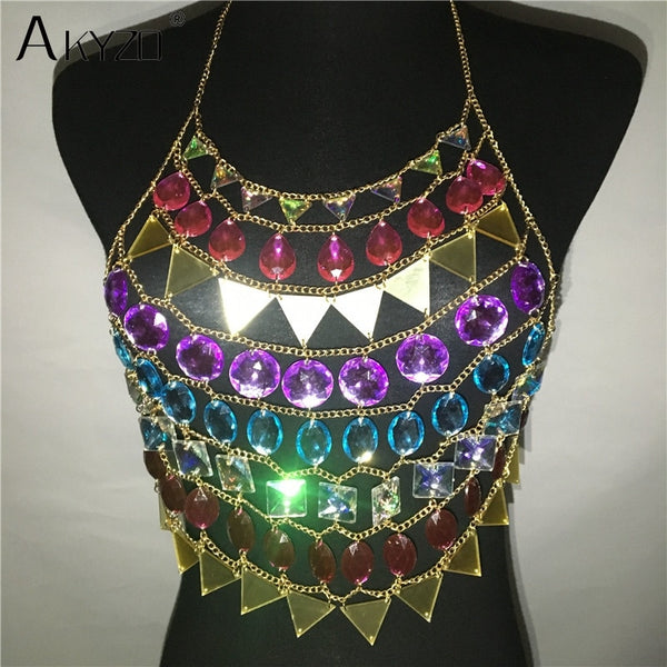 Women Colorful Acrylic Crystal Festival Tank Tops Beach Sparkly Crazy Gem Sequins O Neck Nightclub Party Camis Crop Top