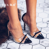 Women Bow High Heels Waterproof Slip On Stiletto Patchwork Pumps Female Rivet Transparent Shoes