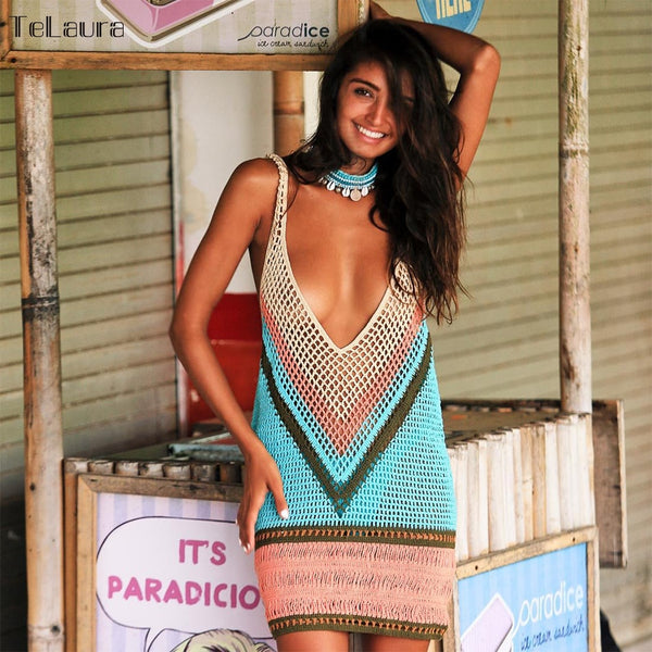 New Sexy Beach Cover Up Bikini Crochet Knitted Swimwear Summer Beach Wear Hollow Out Swimsuit Cover Up Beach Dresses