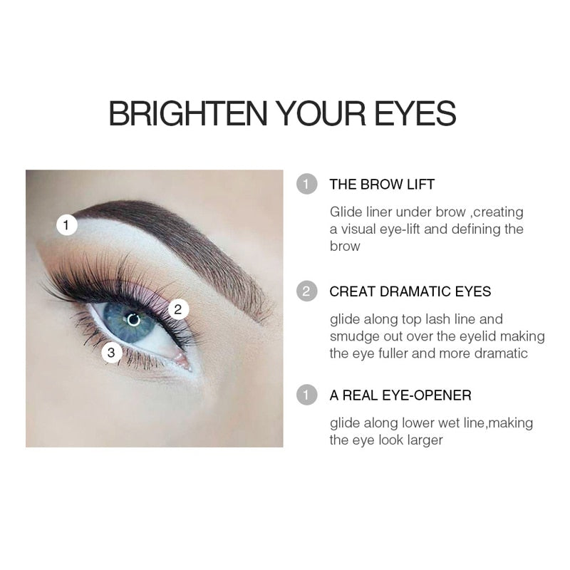 Brand White Eyeliner Makeup Smooth Easy to Wear Eyes Brightener Eye Liner Pen Waterproof Make Up White Eyes Liner Pencils