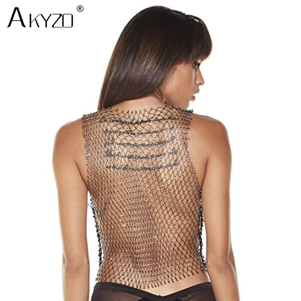 Women's Fishnet Rhinestone Crop Top Summer Sexy Mesh High Elastic Black White Shirt Net See Through Rave Diamond Tank Top