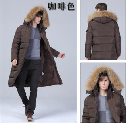 90% White duck down Men Long down jacket - 40 degrees Warm coat Real Fur Collar Thick Men&