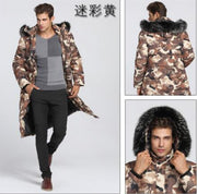 90% White duck down Men Long down jacket - 40 degrees Warm coat Real Fur Collar Thick Men's Winter coats