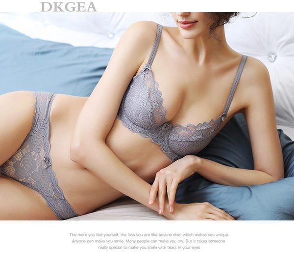 Hollow Sexy Bra Ultrathin Underwear Set Plus Size C D Cup Women Transparent Bra Sets Lace Embroidery Lingerie Gray Brassiere
