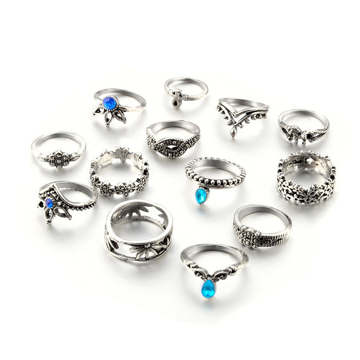 Tocona 13pcs/Set Bohemia Antique Silver Crown Flower Unicorn Carved Rings Sets RhineStone Knuckle Rings for Women Jewelry