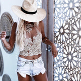 Summer Women Lace Crop Tops Embroidery White Backless Sexy Gauze Cami Spaghetti Strap  Short Beach Party Cropped Tank Top