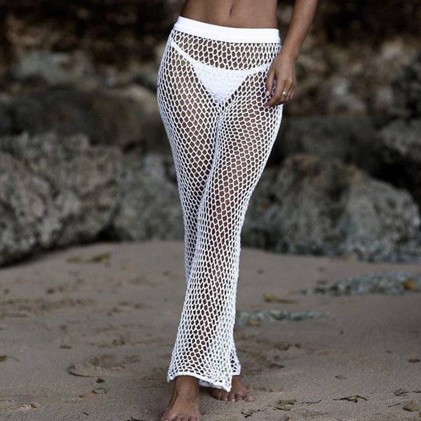 Black White Crochet Bikini Cover Up Beach Women Fishnet Sexy Bathing Suit Cover Ups Swimwear Knitted Beachwear