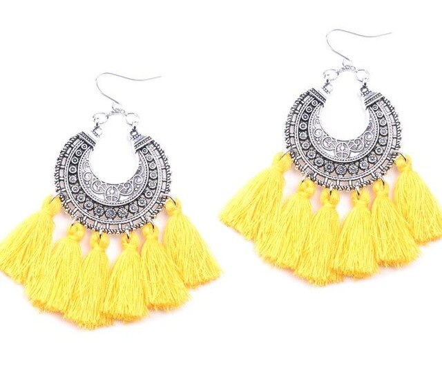 New Fashion Jewelry Accessories Bohemia Hollow Mix Color Tassel Dangle Earring Best Gift For Lover&