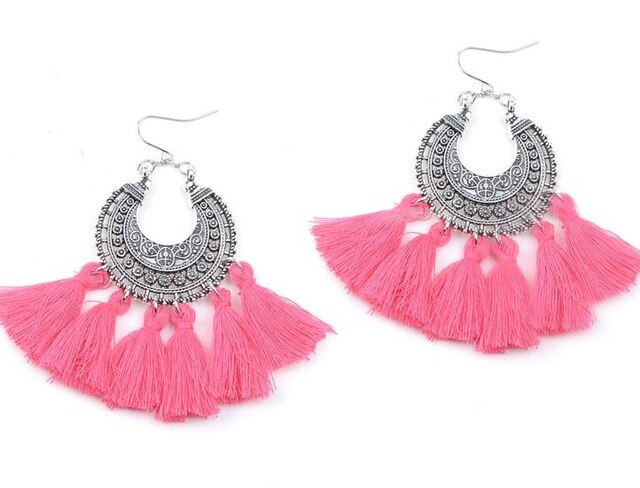 New Fashion Jewelry Accessories Bohemia Hollow Mix Color Tassel Dangle Earring Best Gift For Lover's Girl