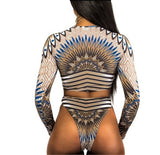 Bkning African Print Swimwear Thong Bikini Set Long Sleeve Swimsuit Women Padded Biquini Sexy Female High Waisted Swimsuits