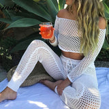 New Hollow out swimsuit cover up sexy women off shoulder bikini Bathing Suit Cover ups beach wear 2PCS/SET