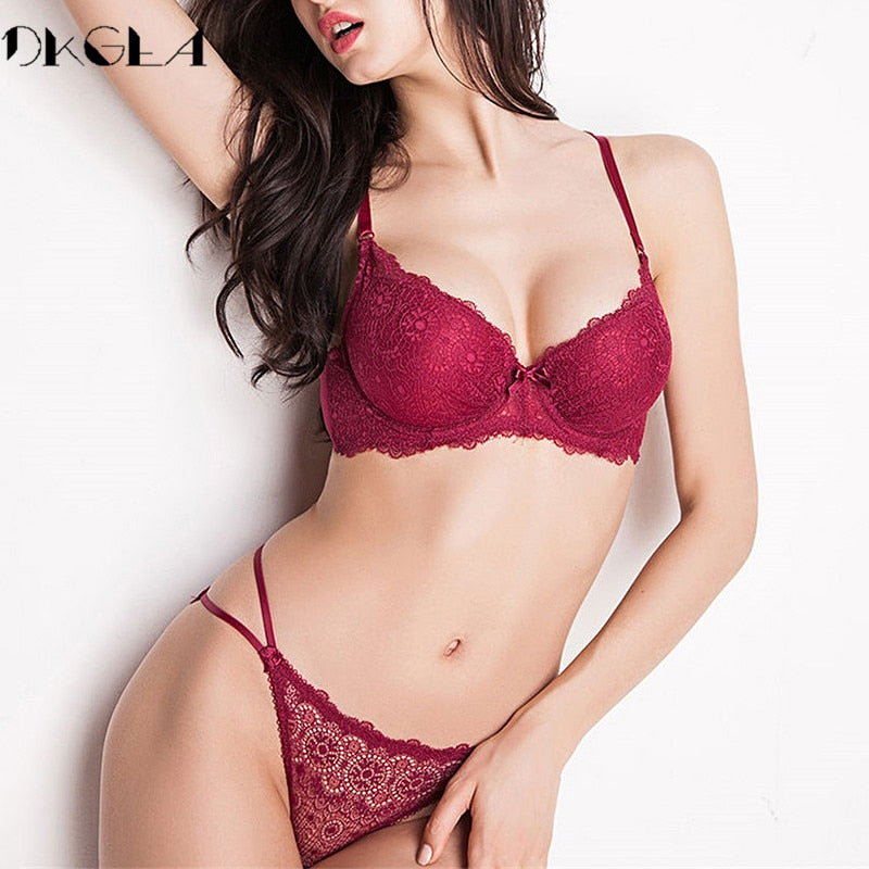 Super Gather Fashion Black Underwear Women Bra Set Push Up Brassiere Cotton Thick Deep V Sexy Bras Lace Lingerie Sets Embroidery