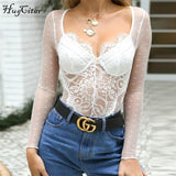 long sleeve lace patchwork V-neck sexy see-through bodysuit
