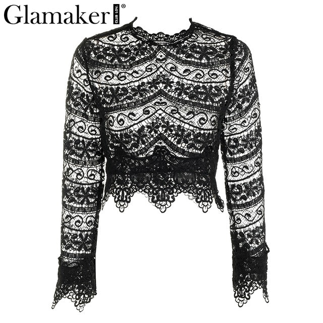 Vintage transparent blouse shirt womens top Fringe feminine white lace blouse Long sleeve turtleneck black tops blouses