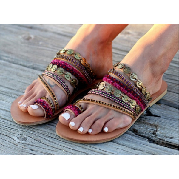 Suede Tassel Lace Up Gladiator sandal Women Summer Flat Sandals
