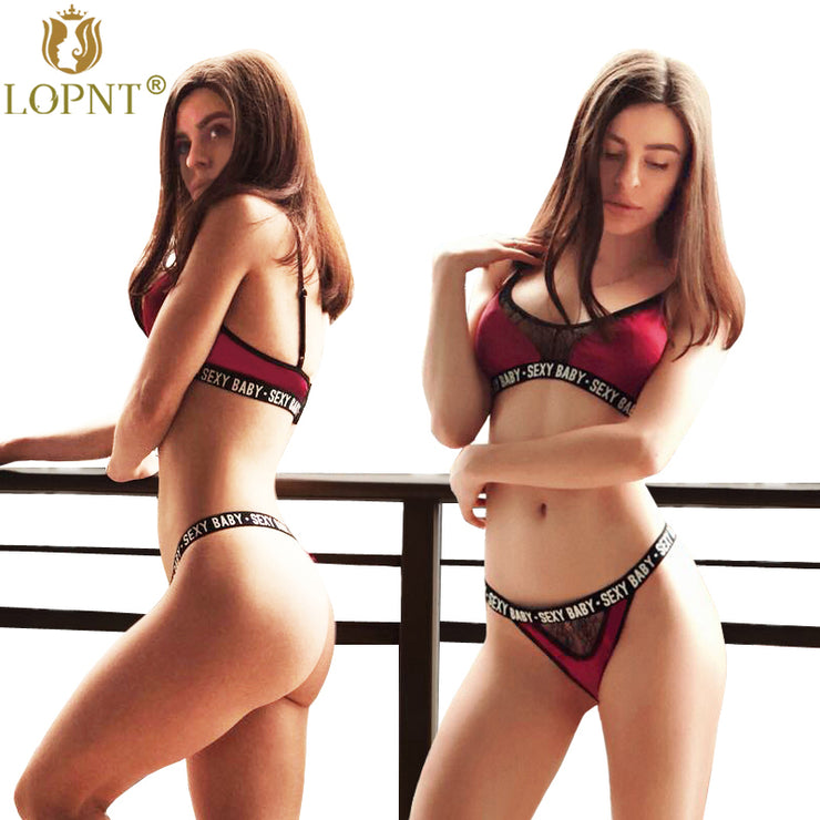 Plus size New sexy bras women deep-V rose floral lace bandage bralette push up brasier mujer 3/4 cup unpadded bra set