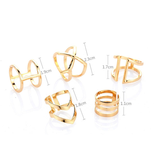 5 Pcs/ Set Classic Gold Colour V Chevron Rings Geometrical Irregular Ring Set Lady Charm Costume Jewelry Accessories Midi Rings