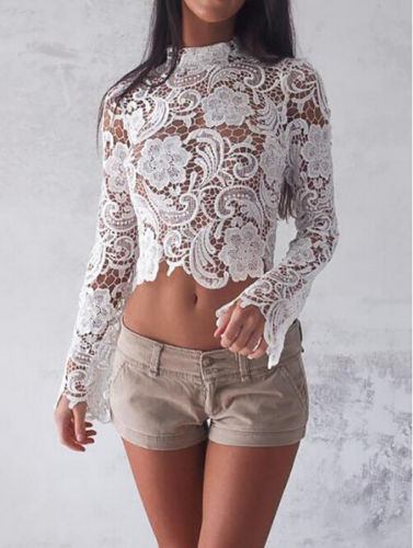 Lace Crochet Blouse Women Long Sleeve Crop Top