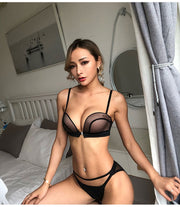 New Sexy Push Up Front Closure Lingerie Set Gathering Seamless Underwear 3/4 Cup Brassiere Women Bralette Bra And Panties Set
