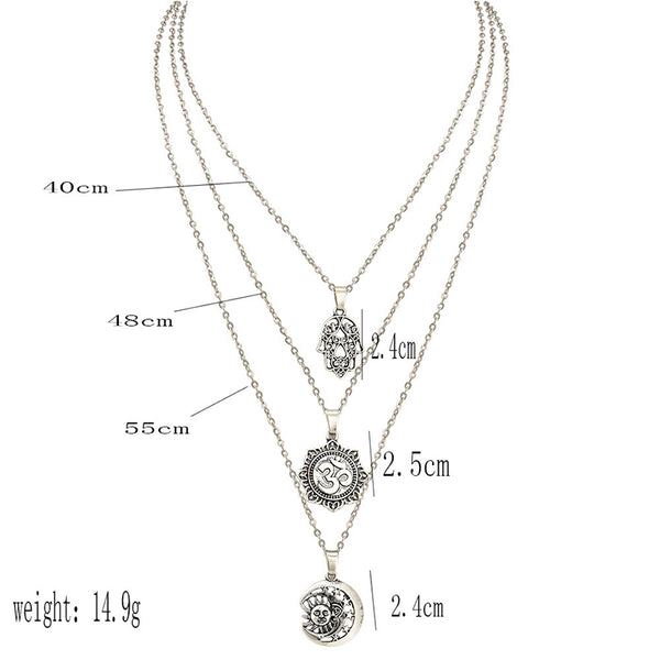 Personality Palm Om Tarot Symbol Moon Star Pendant Multilayer Necklace Women Silver Wedding Party Exquisite Jewelry Accessories