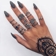 Bohemia Antique Gold Silver Elephant Flower Rose Heart Crown Carved Rings Set Knuckle Finger Midi Ring for Women Jewelry