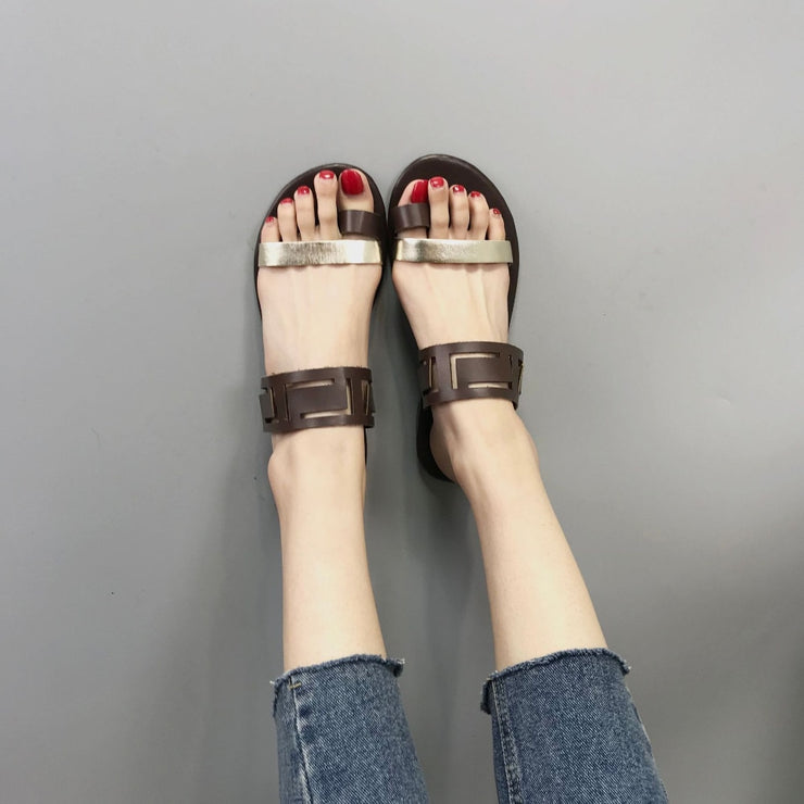 Fashion Summer Shoes Women Casual Sandals Gladiator Flat with Women Sandals Metal Decoration Sandalias Mujer