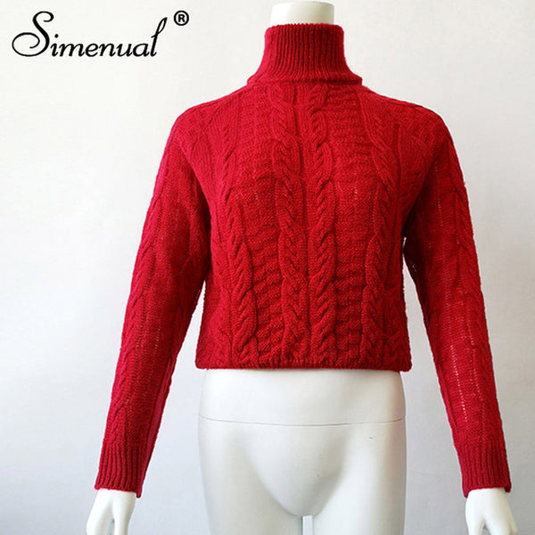 Simenual Twist turtlenecks sweaters for women fashion slim cropped jumpers kntwear autumn fashion solid pullover female basic