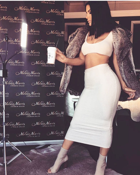 Two Piece Set 2 Piece Set Women Winter Ribbed Crop Top And Skirt Set Matching Sets Woman Two Pieces Outfits White