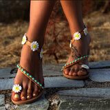 Summer Women Shoes Flat Heels Gladiator Sandals Fashion Female Comfortable Sweet Flowers Boho Beach Sandals Plus Size 35-44