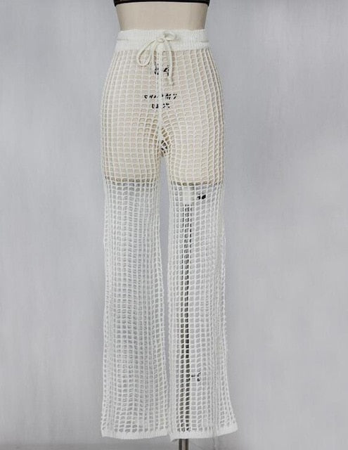 New Sexy Tunic Crochet See Through Beach Lounge Pants White Black Fashion Fishnet Sheer Long Wide Leg Bottoms Beachwear Trousers